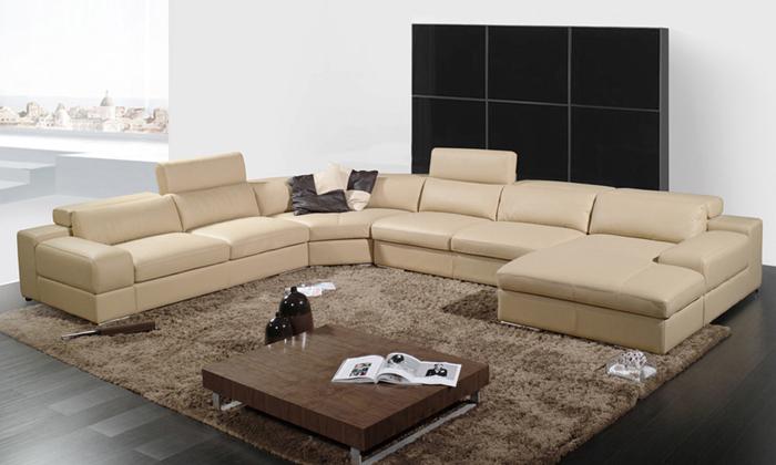 2013 derni re maison con oit moden canap en cuir grande taille en forme de u - Canape en forme de u ...