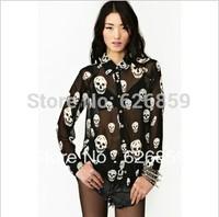 free shipping Fashion play skulls printed chiffon long collar loose long-sleeved cultivate one's morality shirt