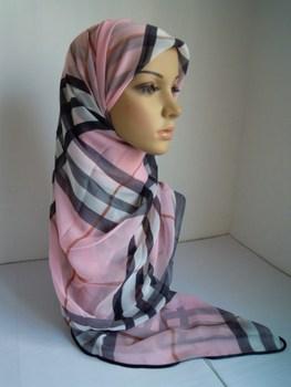 Check hemming chiffon summer muslim bandanas thin bandanas hijab
