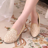 2013 women's spring shoes fashion sweet gentlewomen velvet pointed toe flat heel cutout embroidered mesh single shoes