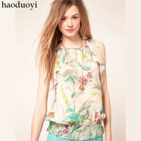 2014 Summer New Women Chiffon T Shirts Printing Slimming Female Sheer Tops Femininas Camisas Chifon Blusas Estampada