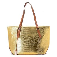 Free Shipping Gia Metallic Crocodile-Embossed Leather Tote Golden