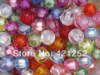 200pcs/lot Chunky Bead in Bead Mix 12mm Transparent Chunky Pumpkin Beads Mixed Color Assortment