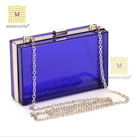 Hot Fashion Women Clutch bags Transparant Acrylic Evening Handbag Popular Banquet Party Pouch With Shoulder Chain 6 Colors