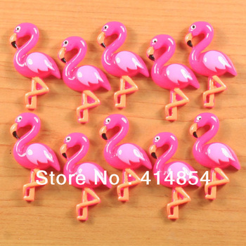 Wholesale 50 pcs Cute Hot Pink Flamingos Animal Resin Cabochon Flatbacks Flat Back Hair Bow Center Photo Frame Crafts Making DIY