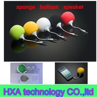 Fashion small sponge ball speker , mp3 mp4 pc phone 3.5 mm loudspeaker , mini sound box boomobox for laptop