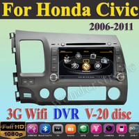 Car DVD Player GPS Navigation Radio for Honda Civic 2006 - 2011 +3G WIFI + CPU 1GMHZ + DDR 512M + v-20 Disc + DVR + A8 Chipset