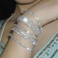 New arrival fashion exquisite bracelet sparkling rhinestone elastic jewelry bracelet  one row mixed color 8 pcs/lot