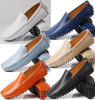 14New interpretation sets foot models Peas shoes comfortable leather boat  leather men's casual shoes orange mocassin loafer