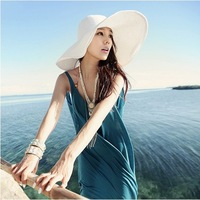Free Shipping 2012 Hot Women's Foldable Wide Large Brim Summer Beach Sun Straw Hat without Silk Ribbon