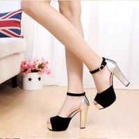 Mushroom 2013 color block decoration open toe sandals thick heel platform paillette black high-heeled shoes platform velvet