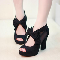Gauze bow shoes high-heeled sandals 2013 sweet thick heel platform open toe women's shoes low-top shoes