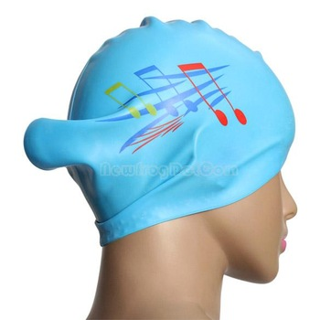 New Note Silicone Swimming Long Hair Cap Ear Wrap Waterproof Hat Sky Blue NI5L
