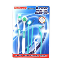 dental care kit 8pcs/set Family dental care,toothbrush, tongue cleaner,mouth mirror, tooth hook, dental floss, molar device