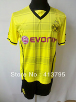 Borussia Dortmund 13-14 home yellow kit soccer jersey best quality embroidery logo jersey free custom name and number