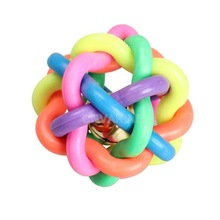 #Cu3 Pet Dog Cat Toy Colorful Rubber Round Ball with Small Bell Toy S Size(China (Mainland))