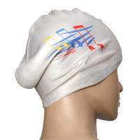 Silver Silicone Swimming Long Hair Cap Ear Wrap Waterproof Hat Note Pattern #gib