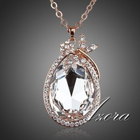 Butterfly Flowers 18K Rose Gold Plated Big Stellux Austrian Crystal Ellipse Pendant Necklace FREE SHIPPING!(Azora TN0040)