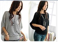 Womens Thin Section Round Neck Bat Sleeve Hed Argyle hollow Sweater Knit