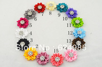 Anna $10 Boutique 1.5'' Crystal Button centre DIY Cluster Flowers satin ribbon flower WITHOUT clip headband accesories 10pcs/lot