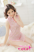 Bling Recommend Women's perspective cheongsam nightgown short skirt sexy sleepwear full dress transparent temptation set