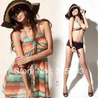 Cheap wholesale, striped graceful Bohemia style 3 piece type women's bikini/gift/summer beach/free shipping