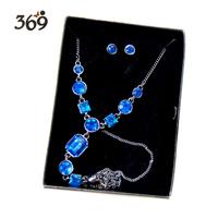 2013 Hot wholesale graceful delicate sapphire acrylic stone necklace earring set