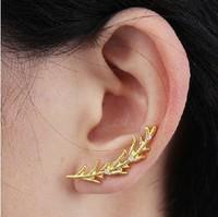 2014 Fashion Elegant Unique Gold Plated Peace Leaves Crystal Stud Earrings   Wholesale 24pcs/lot