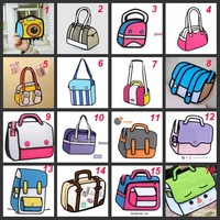 hot selling cartoons bag  3d  fashion canvas  bag female 3d bags 3d comic cartoon free shipping more 22 styles to choose