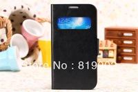 New design open window flip leather stand cover case for samsung galaxy s4 i9500