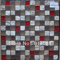 red small chips marble mix crystal mosaic tiles/cheap glass mosaic tiles
