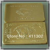 Free shipping 25pcs/lot 24k GOLD BUFFALO 100 MILLS BULLION BAR ,gold clad commemorative  coin
