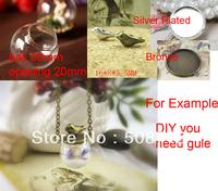Free shipping >> 30mm Glass Globe Pendant Locket Charm opening 20mm +bronze pendant base+ bird charm pendant