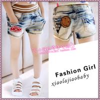 2013 female child denim shorts female child shorts female child smiley shorts