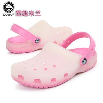 Summer hole shoes flat heel jelly shoes sandals women's platform shoes beach mules