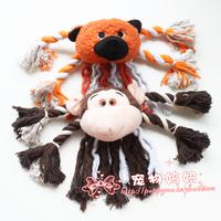 free shipping free shipping Lyrate monkey big head dog teeth cotton rope dog toys sound toys pet dog toy supplies 1