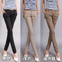 2013  Fashion casual design long pencil pants pants straight harem pants send strap free shipping