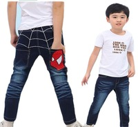 KZ-366,5pcs/lot Free shipping top quality children jeans Korean style kid's clothing spider-man print baby's trousers wholesale