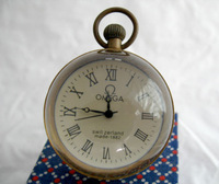 Work CHINESE BRASS GLASS old pocket watch BALL clock