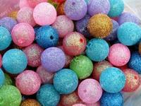 100pcs/lot Glitter Chunky Bead 20mm Retro acrylice Chunky Glitter Bead for Nacklace