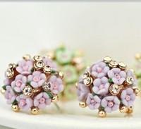 Free Shipping! Hotsale Elegant Ceramic Rose Flower Stud earrings Lovely Fashion Jewelry Earrings for Women