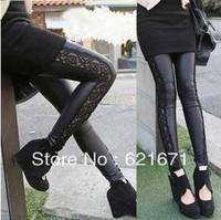 2014 Spring/Autumn New Women Fashion Cool Lace Patchwork Elastic Waist Slim Imitation PU Leather Pencil Leggings Black