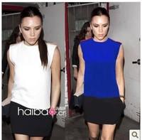 Hot Selling !2013 Spring And Summer New Victoria Beckhams The Same Paragraph Epaulette White Black Splice Sleeveless Dress