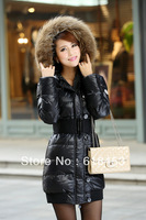 2013 free shipping, New winter New women's lace ruffled long down coat of cultivate one's morality slim down jacket on sales