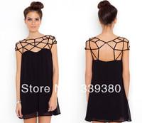 Sexy!!! Little black dress skirt of hollow out design, sweet chiffon dress