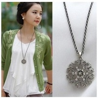 Min. order $9(mix order) Free shipping Fashion major circular hollow flower long necklace sweater chain jewelry for Women XL195