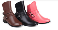 In 2013 the new ms cowhide leather buckle ankle boots joker Martin boots knight motorcycle boots
