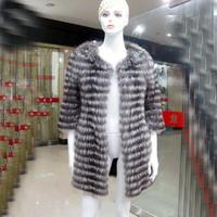 Free shipping EMs Luxury Brand Long Fur Silver Fox Coat Band Fur Fox Coats 2013 Winter Black Coat Of Fur