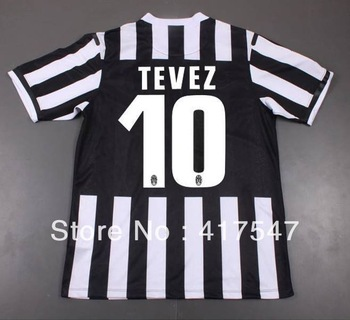 Player version 13/14 Juventus Home TEVEZ 10# best thai quality soccer jerseys football shirt with T brand