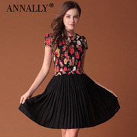 2013 summer elegant intellectuality elegant pleated skirt lace patchwork print one-piece dress